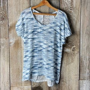 Maurices Ocean Marled Lace Cutout Loose Knit Sz L